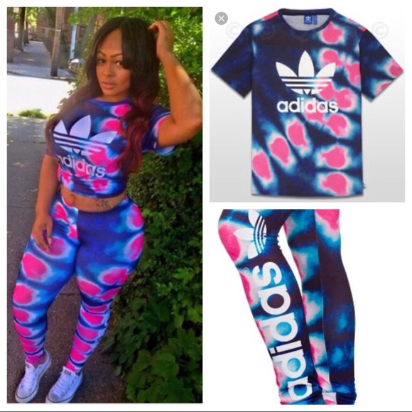 shop so cheap preview of ADIDAS MATCHING TIE DYED LEGGINGS & T-SHIRT OUTFIT